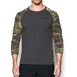 Under Armour Men's Armour Ridge Reaper 3/4 sleeve T-Shirt,Carbon Heather/Black, X-Large