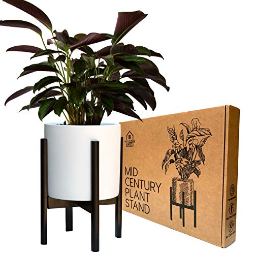 (Mid Century Modern Plant Stand by MCS - 9.5 to 12 inch Adjustable Bamboo Wood Pot Stand Holder 14 in Tall - for Outdoor and Indoor Standing Plant (Pot & Flower NOT Included))