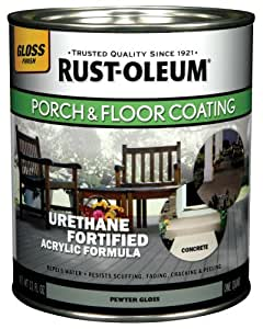 Rust-Oleum 244851 Porch Floor Paint, Pewter Gloss, 1-Quart