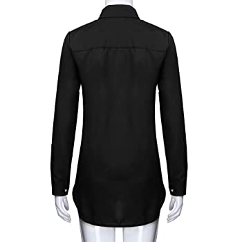 Clearance Women Tops LuluZanm Long Sleeves Plus Size Tops Loose Women V-Neck Pure Color Button Blouse