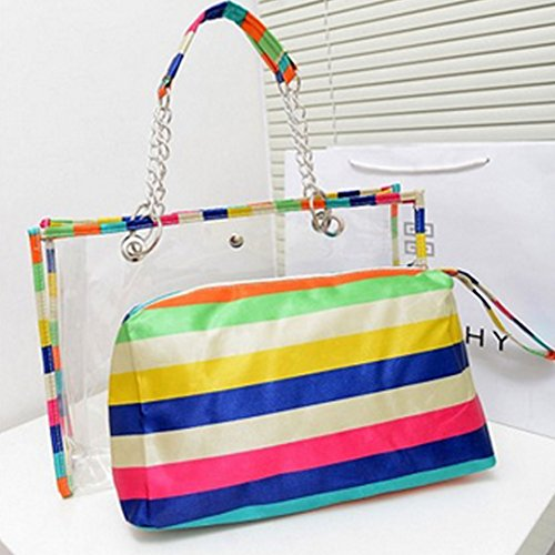 Clear Pocket Beach Purse Stripe Bag Waterproof Shoulder with PVC Interior Felice Hxzw7d6H