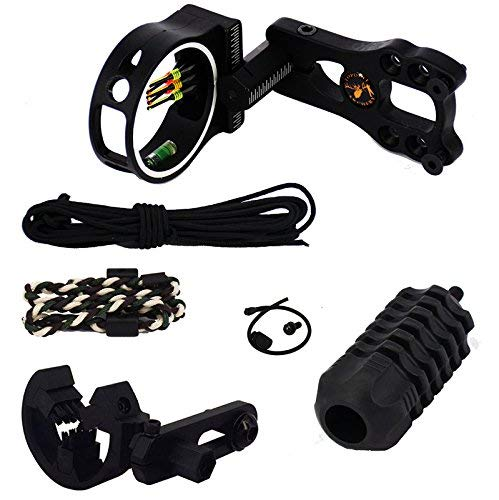 Mosogos 1 Set 6Pcs Archery Compound Bow Accessories Combo, Brush Arrow Rest, Stabilizer,5 Pin Bow Sight with Level and Light, Peep Sight, Bow Sling, Wrist Rope ()