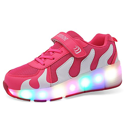 Price comparison product image Boys Girl Double wheels Roller Shoes Sneakers Sport Skate Shoes(Single-Pink-37/5 M US Big Kid)