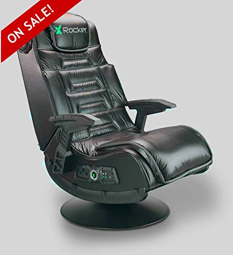 Wireless Gaming Chair Seat Black Leather Faux PC