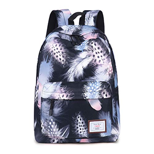 Backpacks Teenage Girls Feather Printed School Bag Travel Leisure Laptop Backpack Canvas Rucksack Mochila