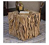 Solid Teak Wood Coffee Table - Rustic Root Cube Wooden Furniture Great for Living Room Or Office - Sturdy and Resistant Side Table - Tea Stand Square Shape - Extra Seating for Guest - Home Decoration