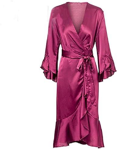Dysy Vestido Elegante De Satén Con Volantes Y Mangas Acampanadas Para Mujer Vestido De Mujer 2019 Otoño Invierno Verde Sexy Vestido De Mujer Rojo Rosa Roja L Amazon Es Ropa Y Accesorios