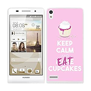 "Funda carcasa TPU (Gel) para Huawei P6 diseño keep calm and make ""Eat"" cupcakes rosa pastel borde blanco"
