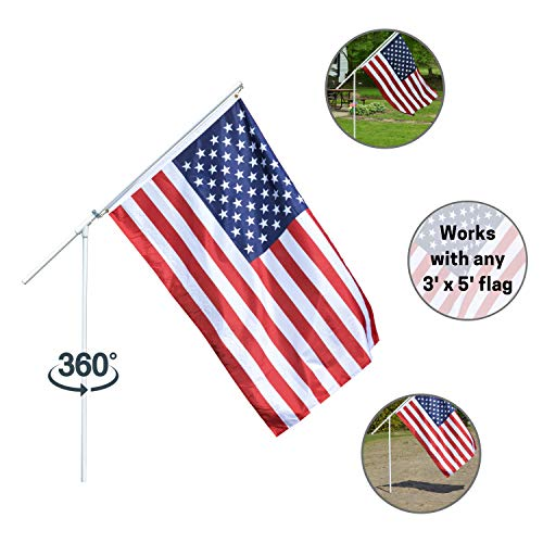 (Portable Flag Pole - Premium Flagpole for Camping, The Beach, Tailgating, Includes 3x5 American Flag, Made of High Grade PVC)