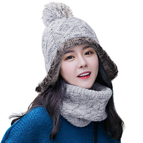 SIGGI 2 Piece Wool Knit Hat & Scarf Sets Wool Peruvian Beanie Earflap Hat Womens Winter Snow Ski Hat Cold Weather,89216_grey,One Size
