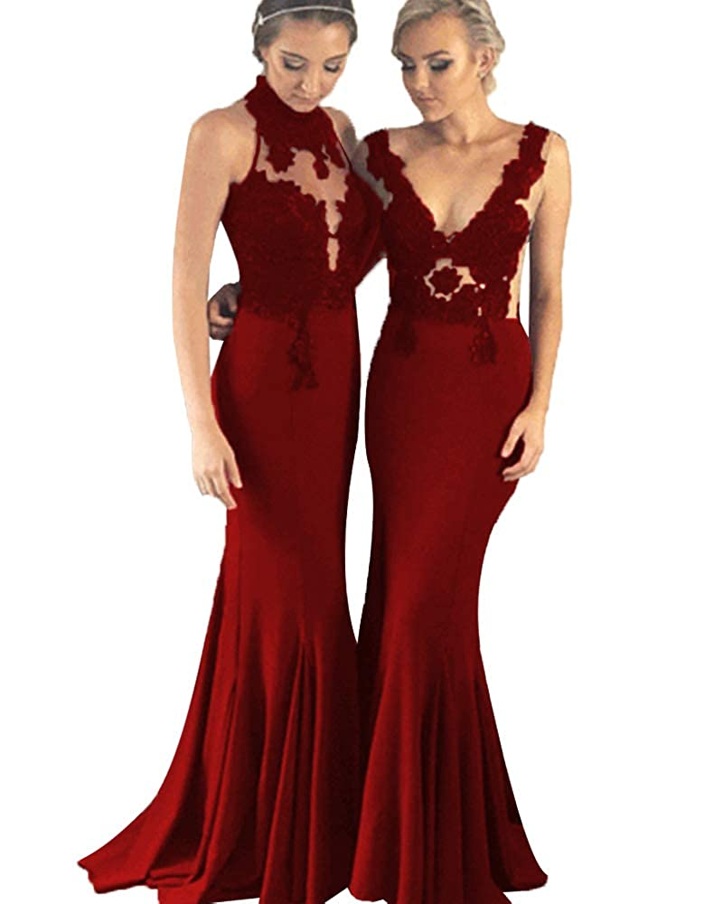 Burgundyb SDRESS Women's Lace Applique Mermaid Bridesmaid Dress Illusion Evening Gowns Long Prom Dress