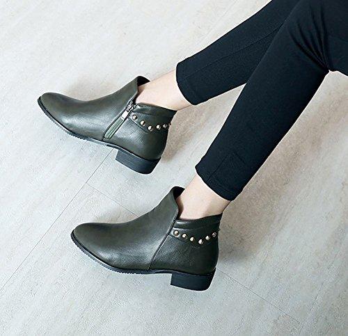 Carolbar Kvinners Zip Pigger Komfort Uformell Nøytral Lav Hæl Korte Støvler Hær Grønn