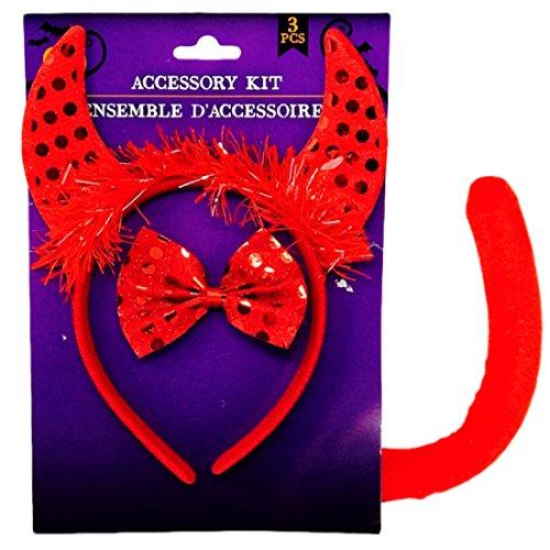 Cutest Dog Costume Ever (Devil Halloween Costume Headband, Bowtie, Tail)