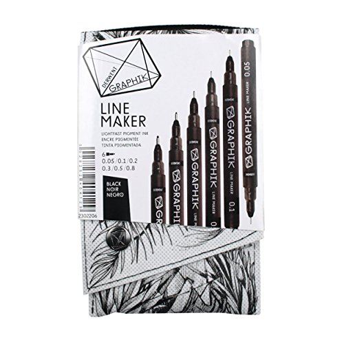 Derwent Graphic - Derwent Graphite Pens, Graphik Line Maker Drawing Pens, Black, 6 Pack (2302206)