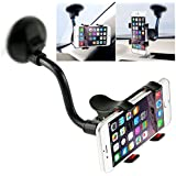 Car Phone Mount Windshield, Long Arm Clamp iVoler Universal Dashboard with Double Clip Strong Suction Cup Cell Phone Holder Compatible iPhone 8 8 Plus X 7 7 Plus 6 6 Plus Galaxy S6 S7 S8 Huawei