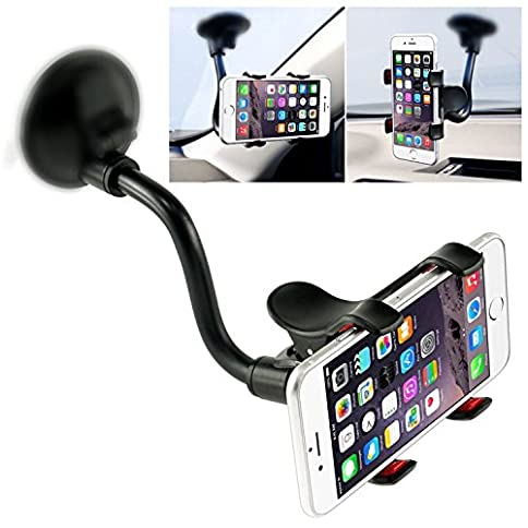 - 51c6UYCDWML - Car Phone Mount Windshield, Long Arm Clamp iVoler Universal Dashboard with Double Clip Strong Suction Cup Cell Phone Holder Compatible iPhone Xs XS Max X 7 8 Plus 6 Plus Galaxy S9 S8 S7 Plus Note 9