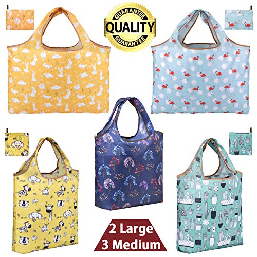 Grocery Bags Reusable Foldable Shopping Bags Large Reusable Bag Groceries Tote Bags with Square Pouch Ripstop Fabric Washable Durable Lightweight, rabbit flamingo elephant donkey(2 Lagre and 3 Medium) (Fabric Flamingo)