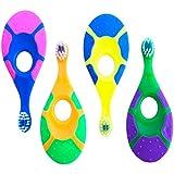 Baby Toddler Toothbrush 4 Pack - Trueocity - Soft Bristles - Teething Finger Handle Toothbrushes for 0-2 Years - Kids First Set (Blue, Orange, Pink, Green, Purple, Yellow) - BPA Free