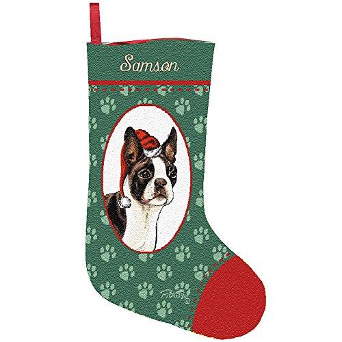 Personalized Boston Terrier Christmas Holiday Stocking - Santa's Pet Custom Dog Name (Dog Christmas Tapestry Stocking)