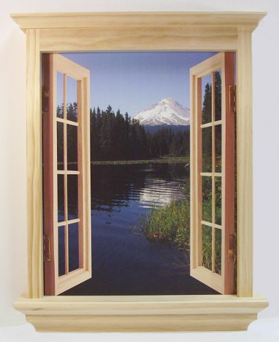 CubiVue Cubicle Decor Window Decoration with 4 Different Views (Natural)