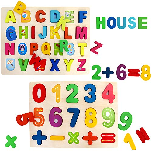 Sealive 2 Pcs Kids Wooden Peg Puzzles Play Set, Alphabet, ABC, 123, Knob Jigsaw Board, Magnetic Letters Numbers, Counting, Learning Montessori Toy Gift for Toddlers Girls Boys -
