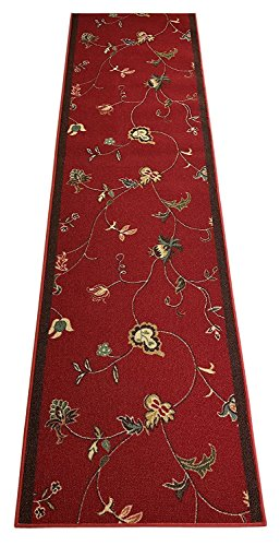 RugStylesOnline Rubber Collection Custom Size Flower Scroll Floral Roll Runner 26 in Wide x Your Length Choice Slip Resistant Rubber Back Area Rugs and Runners (Dark Red, 9 ft x 26 in)