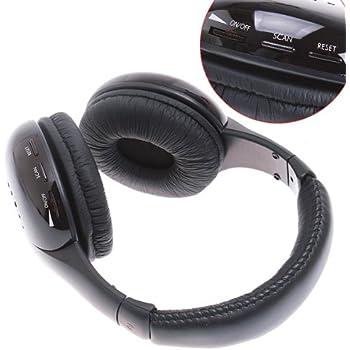 KINGZER 5 in 1 FM Radio Hi-Fi Wireless Earphone Headphone for MP3 TV CD PC