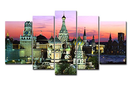 (So Crazy Art 5 Panel Wall Art Painting Cathedral Russia Red Square In Moscow Pictures Prints On Canvas City The Picture Decor Oil For Home Modern Decoration Print)