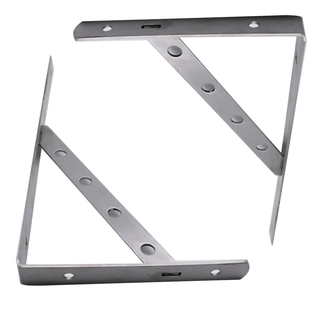ZXHAO 12 inch Stainless Steel Triangle Shelf Bracket Support Wall Hanging Detachable Bracket 2pcs