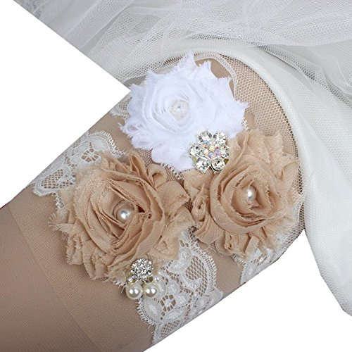 Prettybabyonline Women's Floral Bridal Leg Garter Set Wedding Garter Belt For Bride (L, Champagne) Wedding Leg Garter