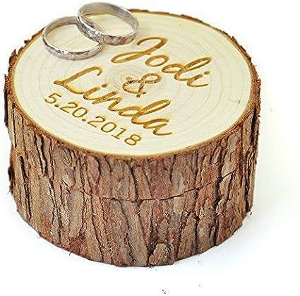 Caja de madera personalizable para anillos de boda con nombre y fecha, portador de anillos de boda, caja rústica personalizada para anillos de boda regalos de boda: Amazon.es: Bricolaje y herramientas