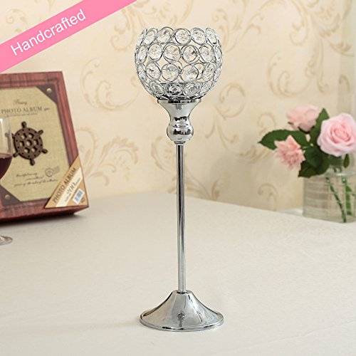 Tall candle holder wedding centerpieces amazon vincigant christmas crystal candle holder coffee table decorative centerpiece for wedding home party floor vase candlestick silver junglespirit Gallery