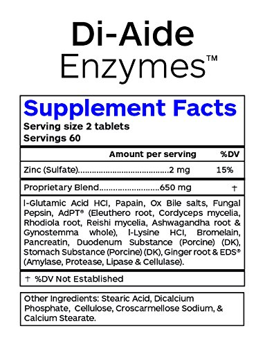 Professional Botanicals - Di Aide Enzymes - Advanced Multi Enzyme Supplement for Better Digestion & Absorption - GMP, NSF, Non-G.M.O. Certified.- 120 Vegetarian Capsules