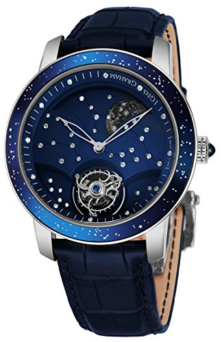 Scattered Diamond Watch - Graham The Moon Mens Flying-Tourbillon Moon-Retrograde 8 Piece Limited Edition Watch - 46mm 18K White Gold Watch with Blue Face and 48 Diamond Constellation - Blue Leather Band Swiss Made Luxury Watch