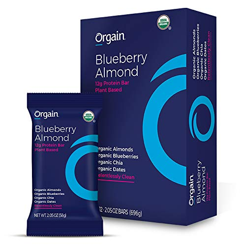 Orgain Simple Organic Protein Bars Blueberry Almond  Vegan Plant Based 8g Dietary Fiber Dairy Free Gluten Free Soy Free Lactose Free Kosher NonGMO 205 Ounce 12 Count