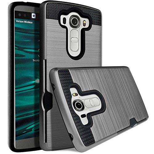 LG V10 Case, Jwest V10 Wallet Card Slot [Shockproof][Drop Protection] Metal Brushed Texture Non-Slip Pattern Hybrid Dual Layer Protective Cover Holder Slim Wallet Case Cover For LG V10, Dark Grey