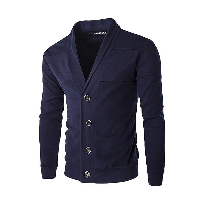 Cárdigans para Hombre, Hombres Otoño Invierno Cálido Suéter Cardigan Botón Suéter de Punto Blusa Tops Chaqueta de Punto Rebeca para Hombre con V-Neck: ...