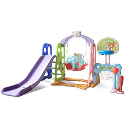 6 in 1 Children Little Bear Swing Set Outdoor Playset, Toddler Climber Slide/Swing/Music/Basketball/Football/Baseball, Indoor Plastic Play Slide Climber for Kids, Easy Assembly (Multicolour): Beauty