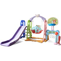 Toddler Kids Climber Swing&Slide Set, 6 in 1 Climber Swing&Slide Basketball Football Baseball Playset , Easy Climb Stairs, Kids Playset for Both Indoors & Backyard,for Kids Ages 3 and up