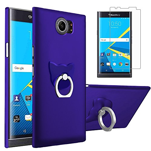 Gzerma for BlackBerry Priv Case Cover with Screen Protector + Ring Stand,Ultra Slim PC Hard Shell, Finger Grip Holder, HD Clear and Easy to Install Protective Film for BlackBerry Priv, Blue