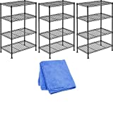 Sandusky Lee WS201232-B Industrial Welded Wire Shelving, 20'' Width x 32'' Height x 12'' Depth, Black (3-Pack) with Cloth Cleaner