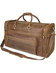 Polare 23.6 Retro Full Grain Leather Duffel Weekender Travel Overnight Luggage Bag