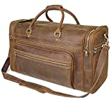 Polare 23.6'' Retro Full Grain Leather Weekender Travel Overnight Luggage Bag