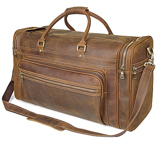 Polare 23.6'' Retro Full Grain Leather Weekender Travel Overnight Luggage Bag by Polare