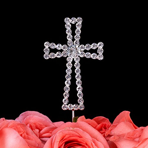 LOVENJOY Gift Box Pack Cross Rhinestone Crystal Cake Decoration Topper for Wedding Religious Baptism Christening First Communion Confirmation (1.8-inch wide)