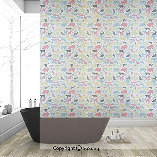 3D Decorative Privacy Window Films,Retro Style Grunge Composition with Different Animals Australia Fauna Jungle Nature,No-Glue Self Static Cling Glass film for Home Bedroom Bathroom Kitchen Office 36x