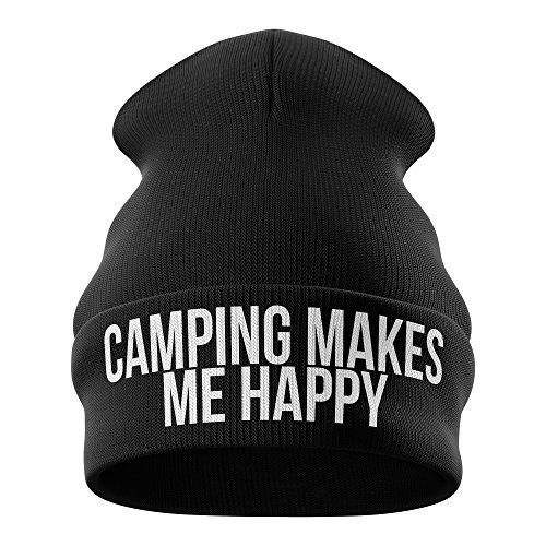 PPH - Gorro de Punto - para Hombre Camping Makes Me Happy