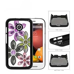 Grunge Flower Sketch With Amethyst Stones Hard Plastic Snap On Cell Phone Case Motorola Moto E