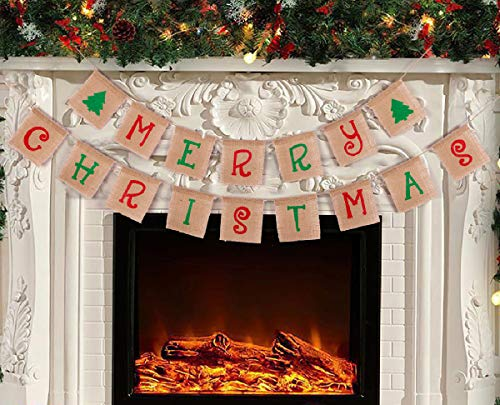 jollylife Merry Christmas Banner Decorations - Xmas Party Burlap Garland Holiday Bunting Indoor Outdoor Sign Decor