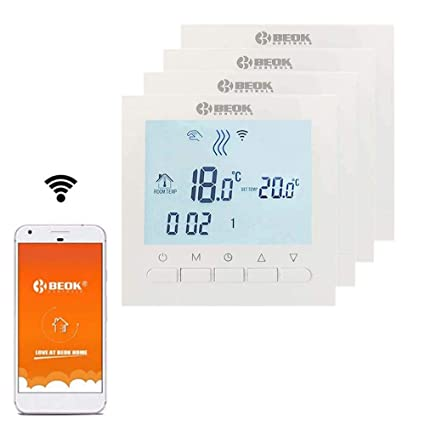 Beok BOT-313 WiFi 4PCS Programable Cableado Digital Calderas De Gas Termostato Se Puede Controlar Por APP Controlador , Pantalla LCD AC220V 3A,Blanco